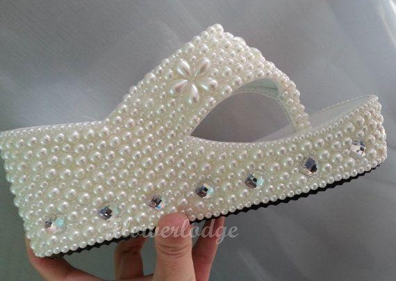 """Custom Flip Flops- 3"""" Wedge Flip Flops-ivory Sandals/pearl stones top with flower clean love shape rhinestone -Made To Order"""