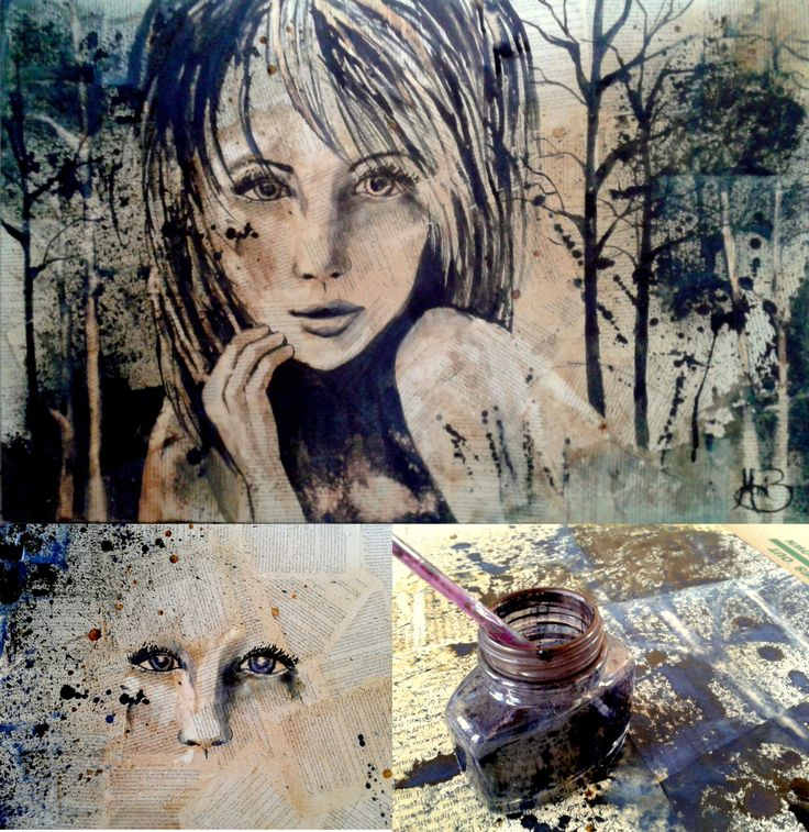 Lost in the Woods A1 Coffee and Ink Painting By Mari Basson