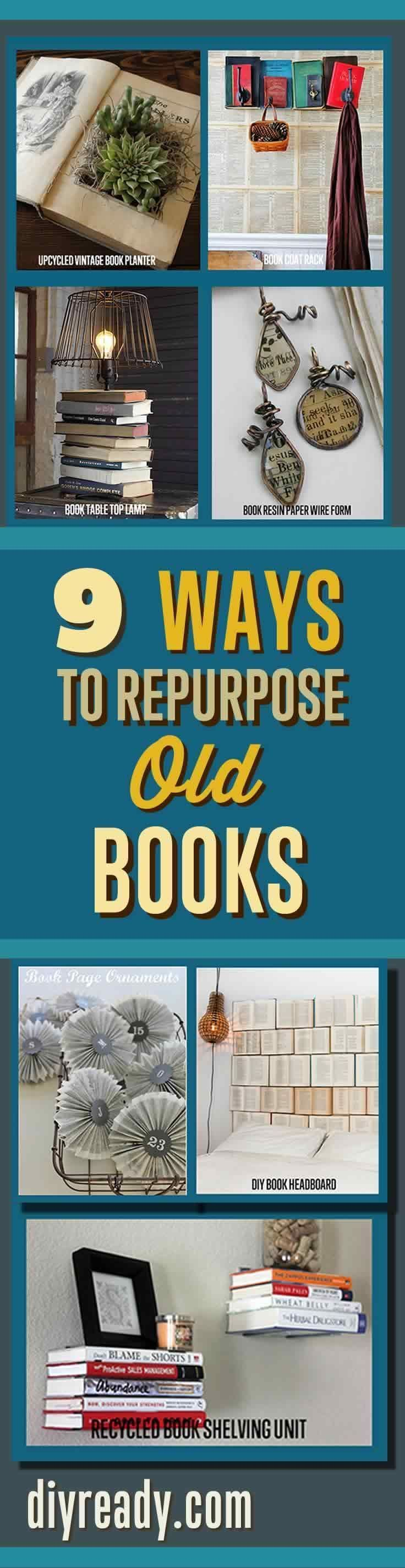 Craft Projects Ideas with Old Books. Repurposed Items can can used to make creative home decor.