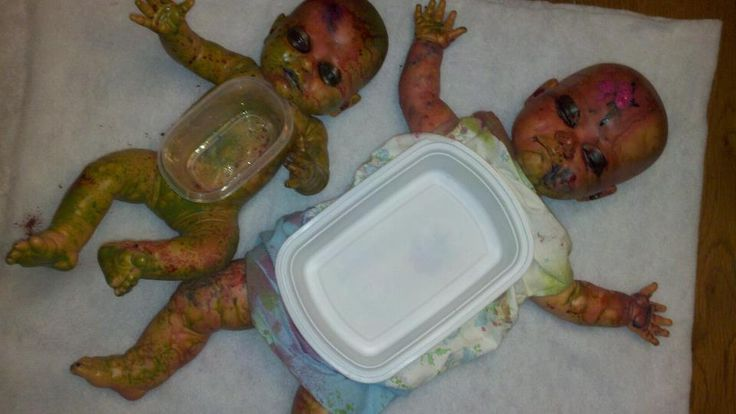 Zombie baby dip bowls for our zombie prom. Only need to get a few baby dolls from garage sales and goodwill