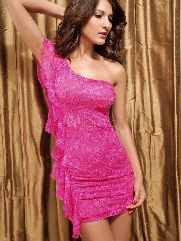[14,41€] Belle charmante robe de club en dentelle rose avec volant vertical de coupe asymétrique à une épaule sans manches