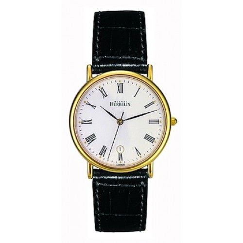 michelle herbelin watches | Michel Herbelin Gents White Dial Black Leather Classic Strap Watch ...