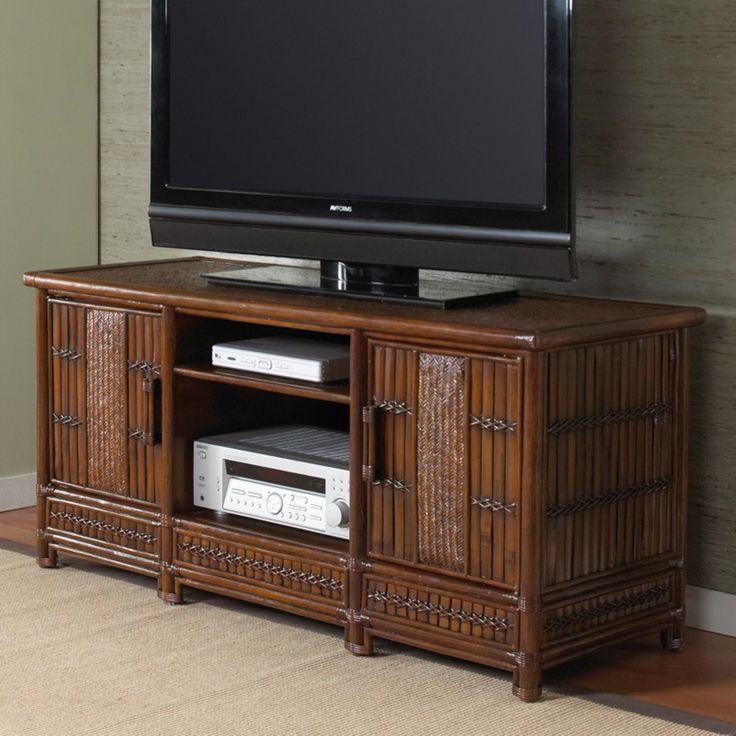 Hospitality Rattan Polynesian Plasma TV Holder - Up to 60 in. - Antique - 710-7315-ATQ