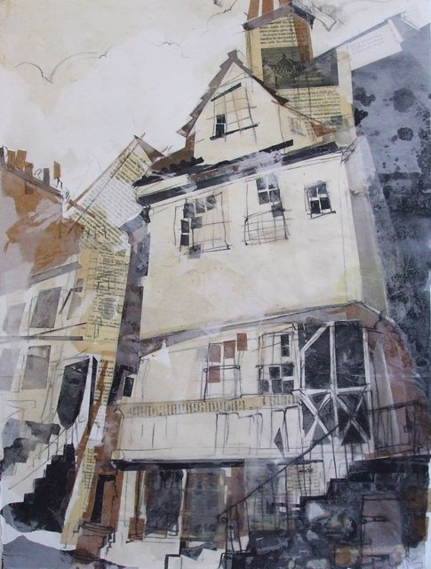 John Knox House Collage with Charcoal and Wax 2014 The location for my next exhibition, 'Literary Edinburgh', landmarks with a literary connection. 7th November - 6th December 2014, Scottish Storytelling Centre, High St, Edinburgh.