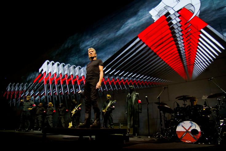 """Roger Waters performing Pink Floyd's classic """"The Wall"""" at Yankee Stadium.  An incredible spectacle."""
