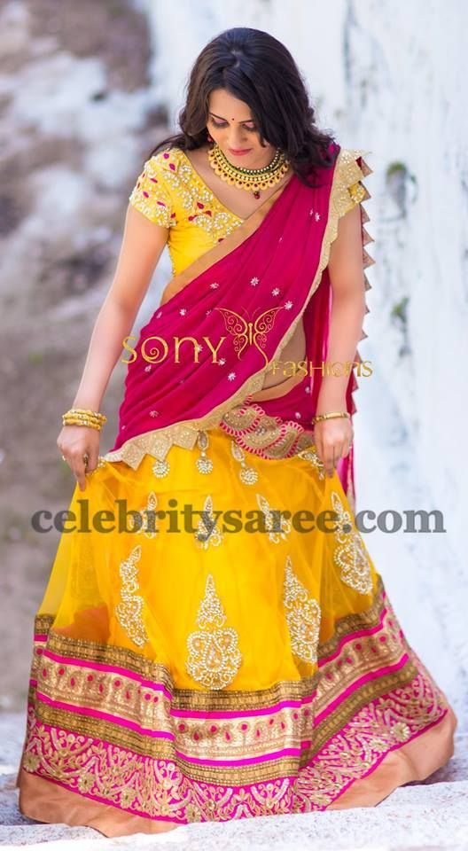 Incredible Half Saree by Sonyreddy | Saree Blouse Patterns                                                                                                                                                      More