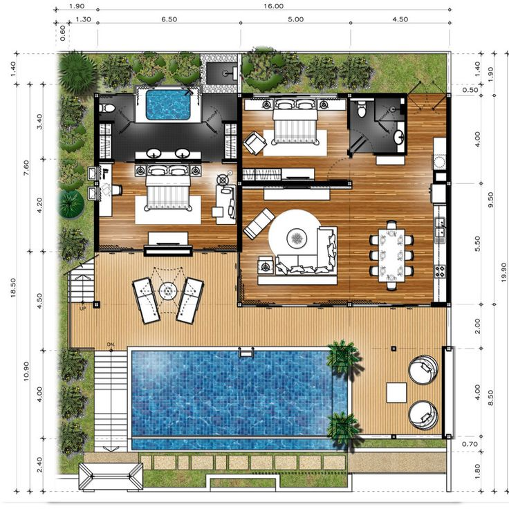 For a small house eliminate the master bed bath this plan would be nice for the garage conversion