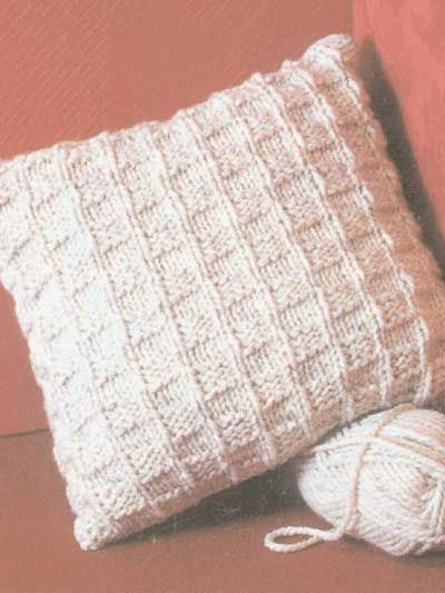 Chunky Checks  Make this large pillow for the family room or floor. Knits quickly with chunky yarn and size 10 1/2 (6.5mm) knitting needles. Fits an 18 x 18 inch pillow form. Beginners will love this easy-to-make design.   Skill Level: Beginner  Designed by Sandy Scoville  Free Download