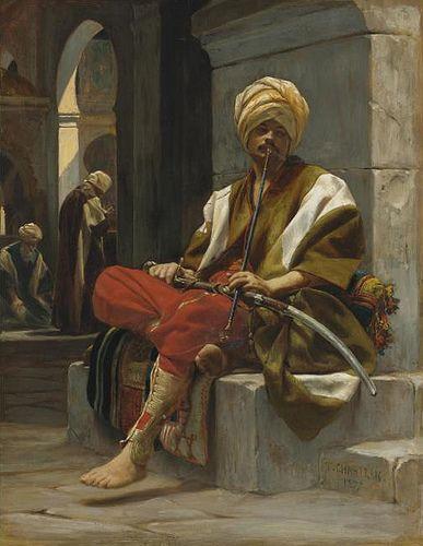Théobald Chartran , French 1849-1907 The Chibouk Smoker