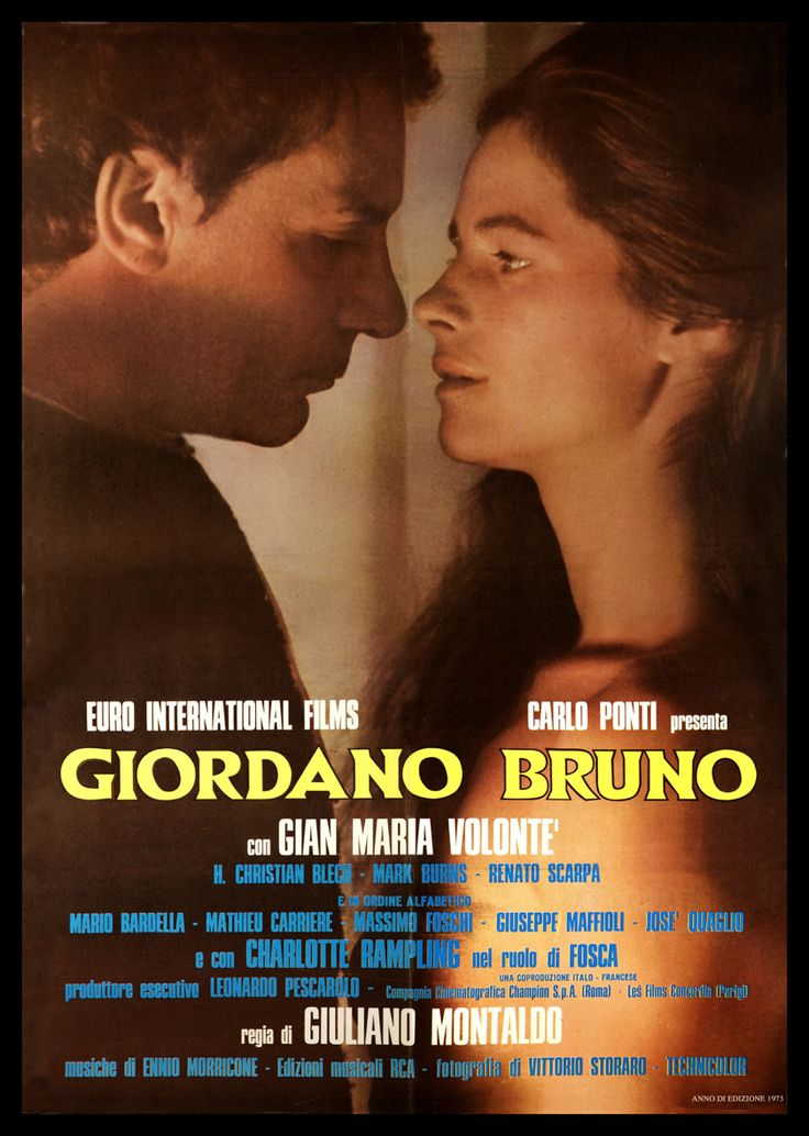 Giordano Bruno (1973) Stars: Gian Maria Volonté, Hans Christian Blech, Mathieu Carrière, Charlotte Rampling ~  Director: Giuliano Montaldo ( Italian National Syndicate of Film Journalists 1974 Nominated for 2  Silver Ribbons: Best Actor (Migliore Attore Protagonista) Gian Maria Volonté' &  Best Costume Design (Migliori Costumi) Enrico Sabbatini )
