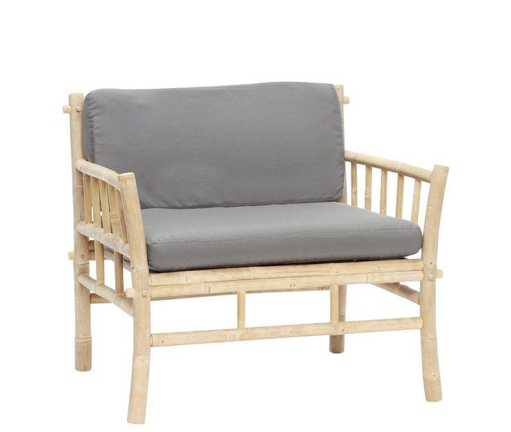 Hübsch bamboe stoel met grijze kussens