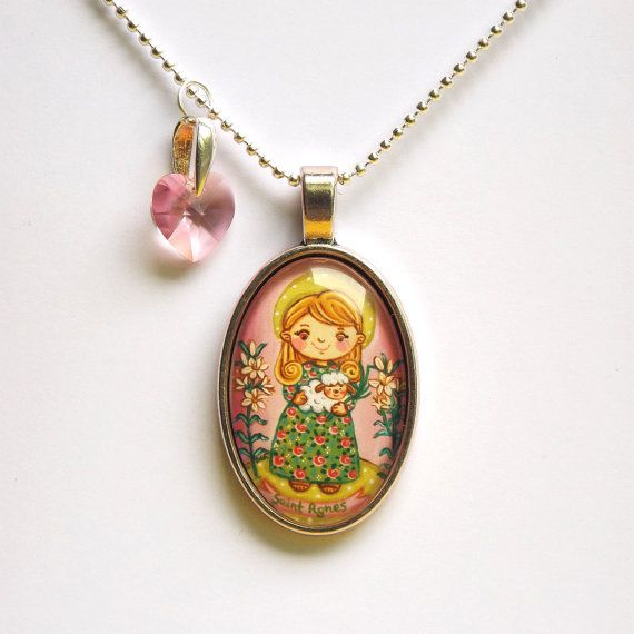 28 best girl first communion gift first communion jewelry catholic saint agnes necklace st agnes saint pendant saint jewelry saint necklace first communion necklace catholic pendant aloadofball Choice Image