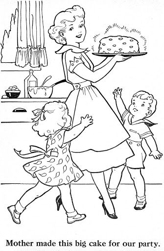vintage coloring pages of children - photo#13