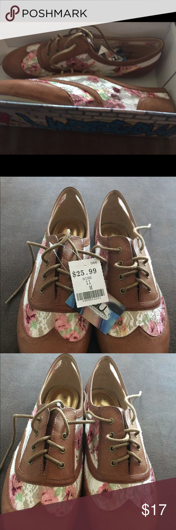 NWT size 11 lace shoes Tan leather and lace flats with pink, white and green flowers. Brand new and never worn. Just realized that they really aren't my style air underground Shoes Flats & Loafers