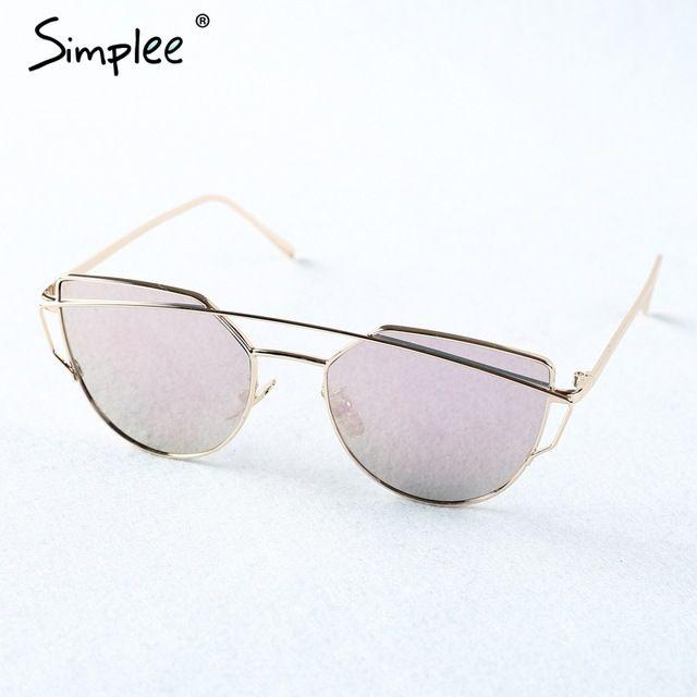Simplee Мода кошачий глаз солнцезащитные очки для женщин-лучи фотохромные солнцезащитные очки 2017 золотой сплав кадр очки