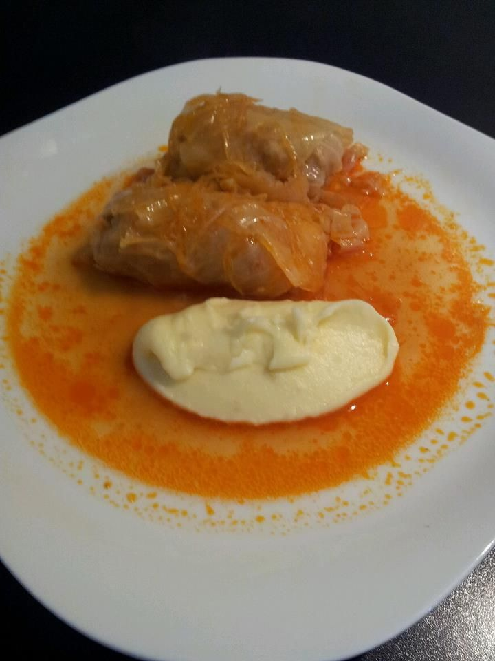 Sarma, a traditional Croatian meal. Pickled cabbage leaves used to wrap the meat filling. Fluffy mashed potato on the side.