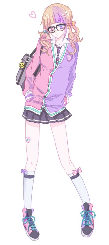 ✮ ANIME ART ✮ anime. . .fairy kei. . .school uniform. . .fashion. . .cardigan. . .glasses. . .sneakers. .. colorful. . .pastel. . .cute. . .kawaii