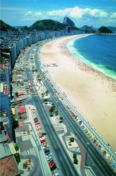 The design of the stairwalks of Copacabana Beach in Rio de Janeiro City, was made by the great landscaper, Burle Marx. RJ. Brazil.