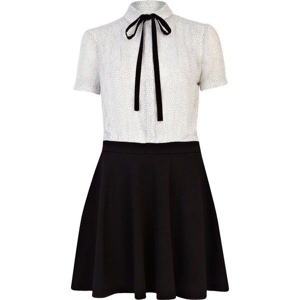 River Island Black and white spot 2 In 1 Skater Dress ($54) ❤ liked on Polyvore