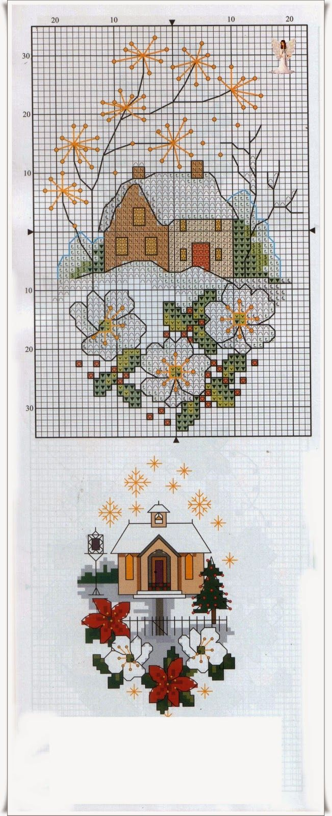 Village Christmas Scenes • 1/3 Chart for one cottage