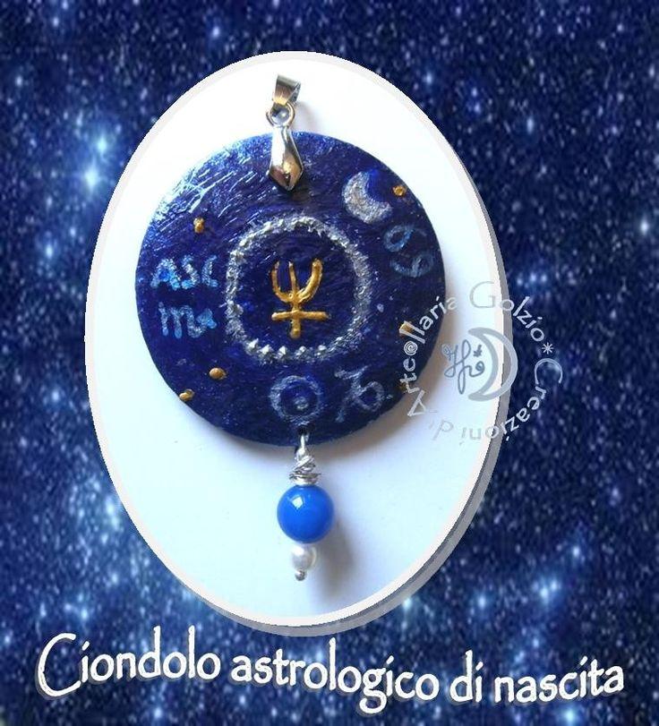 I ciondoli astrologici realizzati in base ai dati di nascita. Riportano i segni zodiacali di sole, luna, ascendente e il pianeta dominante + cristalli