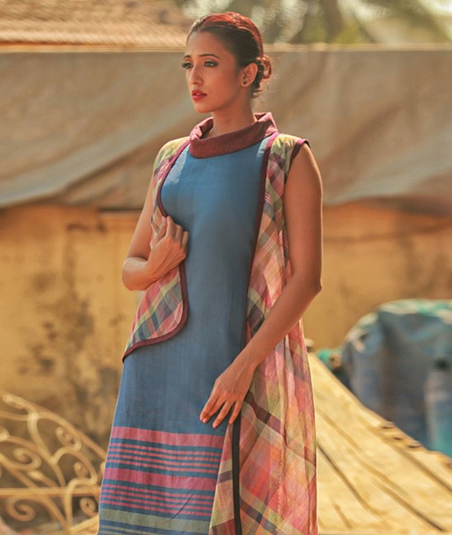 Blue Woven Cotton Sheath Dress with Checks by Pinnacle Clothing Co. Noida