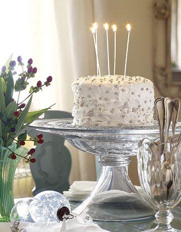 Elegant birthday cakes with candles