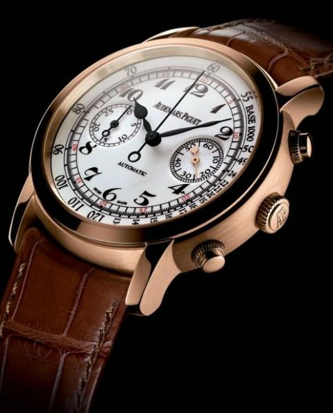 Audemars Piguet Jules Audemars Chronograph: Self-winding chronograph with small seconds at 3 o'clock. 18-carat white gold case, off-white lacquered dial, black strap. Ref 26100OR.OO.D088CR.01