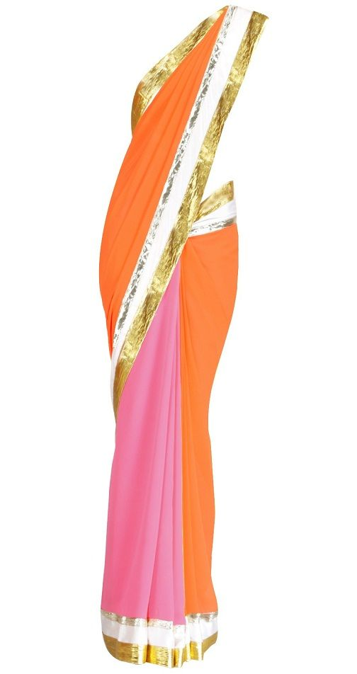 Orange and pink saree with offwhite satin border and embroidered gota triangles in the pallu.