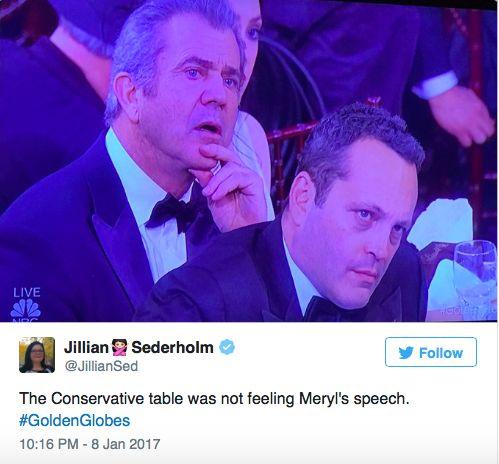 Vince Vaughn & Mel Gibson during Streep's Anti-Trump Speech.