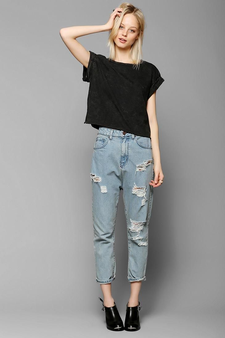 Project Social T Roll-Sleeve Cropped Tee #urbanoutfitters