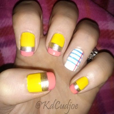 Pencil and paper school, teacher nail art