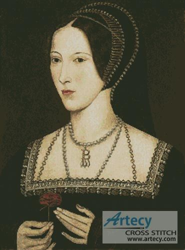 Artecy Cross Stitch. Anne Boleyn Cross Stitch Pattern to print online.