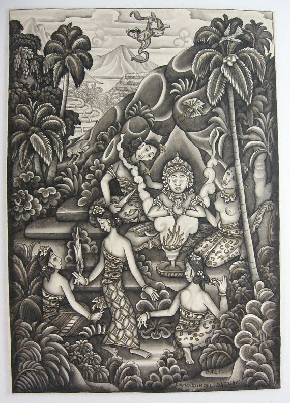 Vintage Bali Painting from Toronto-based Etsy shop LastCentury. Signed at the bottom right - Bali, DW, MD, Kundel Batuan. I'm no expert, but this looks to be painted in the Batuan style
