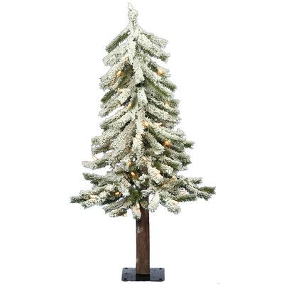 flocked alpine 3 white artificial christmas tree with 50 clear lights - White Fake Christmas Trees