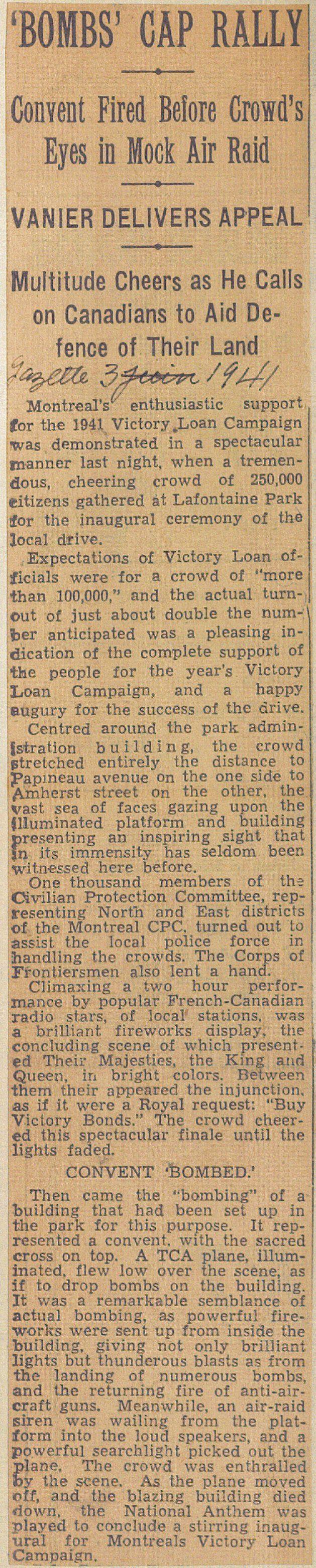 """Article du journal """"The Gazette"""" du 3 juin 1941. SOURCE: Archives de la Ville de Montréal;  code: VM6-S10-D1901-38-A"""