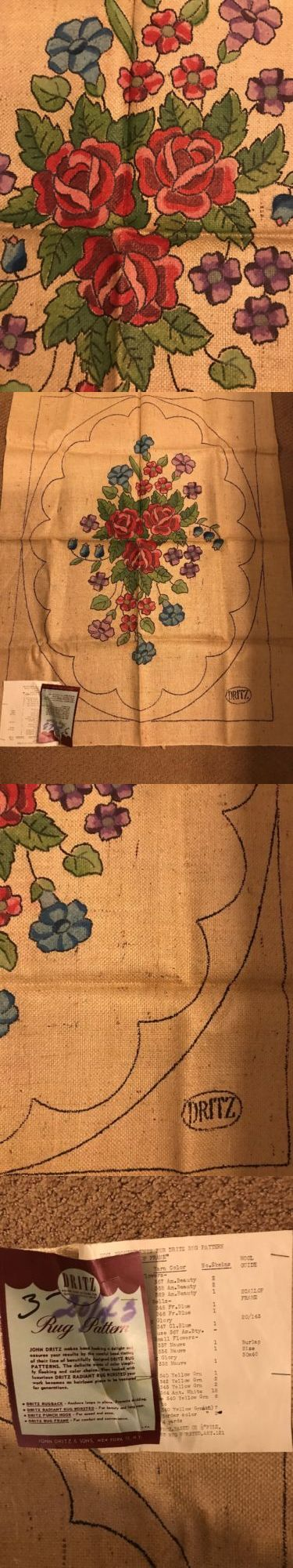 Primitive Hooking Patterns 157031: Hand Tinted Hand Hooking Dritz Floral Morning Glory Burlap Rug Pattern 30 X 40 -> BUY IT NOW ONLY: $50 on eBay!