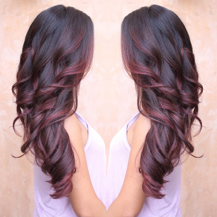 Burgundy and Red colormelt - Balayage done by Melisa Castillo. Follow on Instagram : @BeautyByMelisa