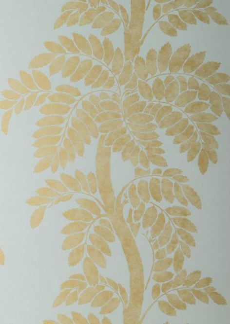 WALLPAPER: Wisteria wallpaper in Gold on Celadon from the Glamour Collection by #AnnaFrench #Thibaut