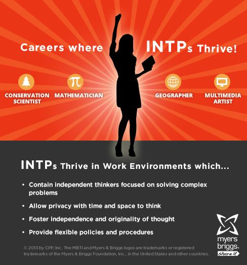 The careers and workplaces where INTPs thrive!  #MBTI #myersbriggs #careers