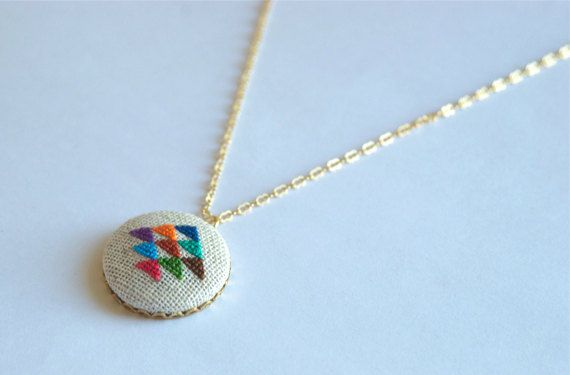 golden triangle cross stitched pendant necklace by Gamma Folk