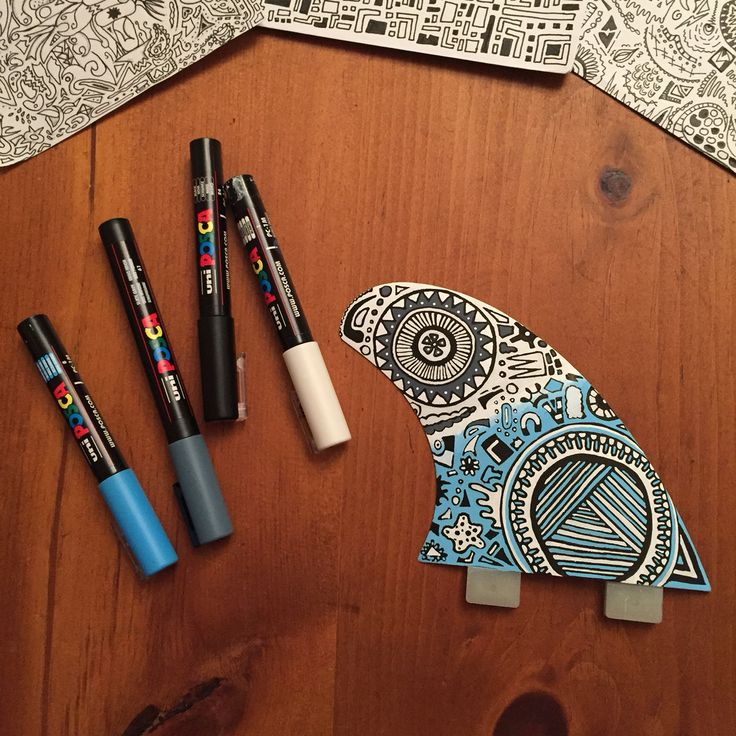 Posca pen surfboard fin design. By Indra Brooks