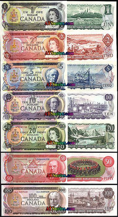 Canadian banknotes 1969-75