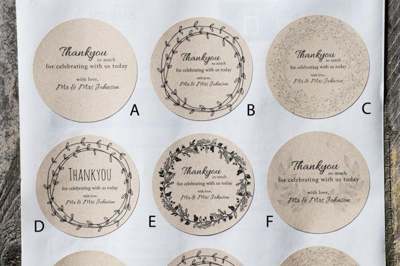 Wedding Stickers Personalised Wedding Favour by littleseedgifts