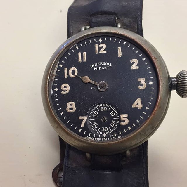 "This is plain awesome! From @tmfmuseum: ""Another WWI small donation today from the son of Fred W Smith with the 132nd Field Artillery included this outstanding watch. It is an inexpensive pocket watch attached to a strap so it could be worn on the wrist. The Great War began the popular interest in wristwatches."" ---- #astorbond #ingersoll #ingersoll1892 #ingersollwatch #ingersollwatches #watchaddict #watchoftheday #wristwatch #horology #watchnerd #instawatch #watches #openheart #watchporn…"