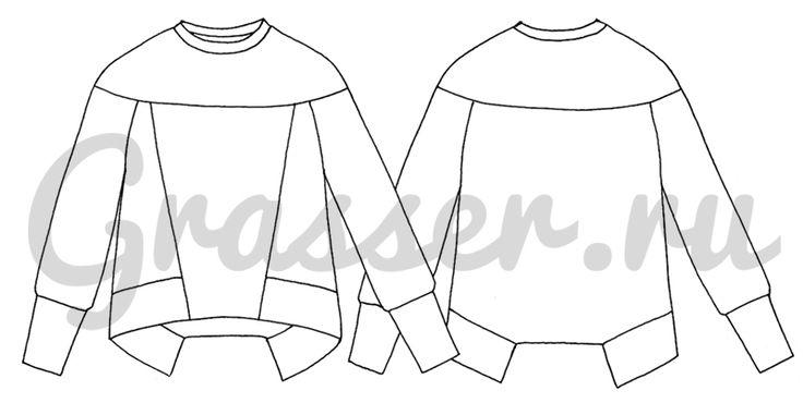 Выкройка №417, свитшот, магазин выкроек grasser.ru #sewing_pattern