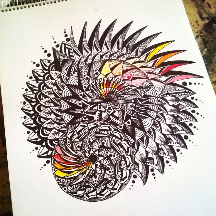 yellow, orange and red.... in a black and white mandala