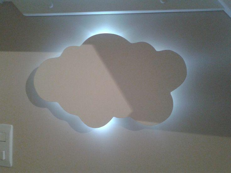 Luminária nuvem com iluminação de led.  A nuvem é feita em MDF e pintada a mão, o led funciona à pilha com interruptor liga desliga, para fixar na parede ela possui um gancho para pendurar em prego ou parafuso.  Medidas: 38X25cm  A cor do led poderá ser alterada, conforme disponibilidade em estoq...