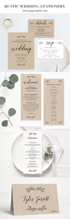 """This """"Tiny Leaves"""" wedding stationery collection by Papersizzle is perfect for any outdoor wedding. The collection consists of a wedding invitation set, table decorations and a wedding program. The rustic DIY stationery templates are editable in Adobe Acrobat Reader (free version), which make them easy AND perfect for any couple on a budget as there is no need for a professional editor. Sign up for our newsletter at https://papersizzle.com/pages/newsletter and receive 15% off your first…"""