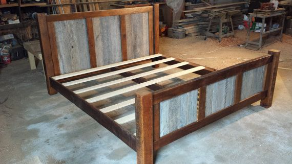 King Size Bed Frame With Wood Panels On Headboard And